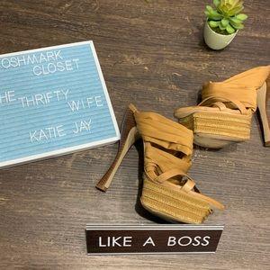 Bebe Strappy Tan Platform Heels Size 8